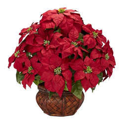 Poinsettia with Decorative Planter Silk arrangement - We have a poinsettia for everyone here at Nearly Natural. This offering is perfect for those who love a full, lush poinsettia, but want more (faux) plant than vase. But don�t get us wrong - the vase is nice indeed. It�s just the poinsettia in this medium vase is so full, so large, so� poinsettia-y! The reds, the greens, the buds� it�s perfect for almost any decor, holiday or otherwise. Makes a fine gift as well. Height= 22 in X Width= 22 in X Depth= 20 in