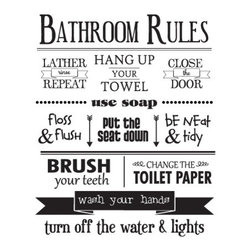 WallQuotes.com - Bathroom rules Wall Quotes Decal - Bathroom Rules, lather rinse repeat, hang up your towel, close the door, use soap, floss & flush, put the seat down, be neat & tidy, brush your teeth, change the toilet paper, wash your hands, turn off the water & lights