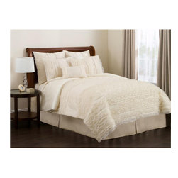 None - Lush Decor Ivory Paloma 4-piece Comforter Set - Turn your bedroom into a serene haven with this luxurious four-piece comforter set from Lush Decor. Crafted from sheer voile on faux silk, this beautiful ivory comforter set includes a comforter, bedskirt and shams to stylishly revamp your bedroom.