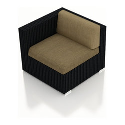 Harmonia Living - Urbana Outdoor Rattan Left Arm Chair, Heather Beige Cushions - The Urbana Outdoor Wicker Left Arm Facing Chair with Tan Sunbrella Cushions (SKU HL-URBN-LAS-HB) is the perfect starting or end point for building your own stylish Urbana Sectional. Made with High-Density Polyethylene (HDPE) wicker, a fade-resistant color is designed to withstand the elements. The section is constructed with a sturdy, thick-gauged aluminum frame, protected with a powder coating for even greater corrosion resistance. The seats are also reinforced to provide support and prevent excessive wicker stretching from repeated use. Both seat and back cushions are included, with your choice among four fade- and mildew- resistant Sunbrella fabric options.