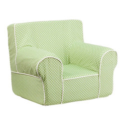 Flash Furniture - Flash Furniture Children's Chairs Kids Small Chairs X-GG-NRG-TOD-DIK-HC-GD - This comfy foam chair is a fun piece of furniture for children to enjoy for reading and relaxing. The lightweight design with carrying handle will allow this chair to be toted in several locations. The slipcover can be removed for cleaning or spot cleaned upon accidents. [DG-CH-KID-DOT-GRN-GG]