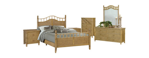SEAWINDS TRADING - Bali Tropical 6 Piece Rattan and Wicker Bedroom Furniture Set - This furniture will ship free via SAIA Freight services to your door within 3 business days of ordering.
