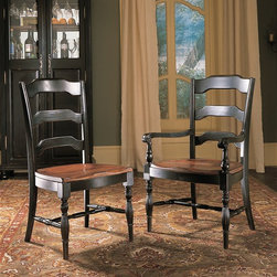 Hooker Furniture - Hooker Furniture Set of 2 Indigo Creek Dining Arm Chair 332-75-300 - The Indigo Creek Collection is crafted from hardwood solids with cherry veneers. It features a black finish with rub-through.