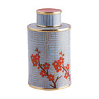 """Piling Palang - Unique Tea Caddy by Piling Palang - Something's brewing just for you. This cloisonne canister and lid serve up high style in a tea caddy shape with the metallic bands and colorful enamel steeped in Asian design. Not a """"teatotaler""""? This would blossom on a mantel, tabletop or mixed with other objects on a shelf."""