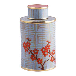 "Piling Palang - Unique Tea Caddy by Piling Palang - Something's brewing just for you. This cloisonne canister and lid serve up high style in a tea caddy shape with the metallic bands and colorful enamel steeped in Asian design. Not a ""teatotaler""? This would blossom on a mantel, tabletop or mixed with other objects on a shelf."