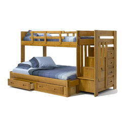 Chelsea Home - 100 in. Twin Over Full Bunk Bed - NOTE: ivgStores DOES NOT offer assembly on loft beds or bunk beds.. Includes stairway chest and two underbed storage drawers. Mattresses not included. Hand stain finished with three steps process to compliment the natural wood grain. Rustic style. Rails will connect to the bed ends by a 3.5 inch lag bolt for strength. Meet and exceed all of the following rules: ASTM F-1427-07, CFR 1213, CFR1513 and lead testing. Constructed for strength and durability. Warranty: One year. Made from solid plantation-grown pine wood. Honey finish. Made in USA. Assembly required. 100 in. L x 56 in. W x 60 in. H (327 lbs.). Bunk Bed Warning. Please read before purchase.Warning: Falling hazard, bunk beds should be used by children 6 years of age and older!