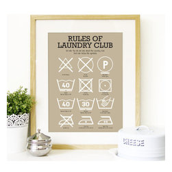 Laundry Club Art Print by Peanutoak Prints - I love this handmade graphic print for the laundry room.