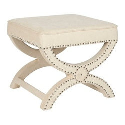 Dante X-Bench Cream Ottoman - Place one or two of these stylish X-benches at the foot of your bed.