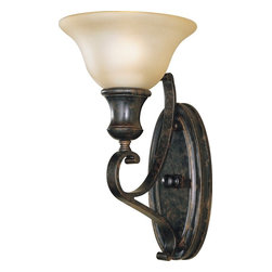 Murray Feiss - Murray Feiss Cervantes Transitional Wall Sconce X-RBL0421BW - Traditional details and subtle rustic influencing gives a unique feel to this Murray Feiss wall sconce. From the Cervantes Collection, it features a beautiful frost amber glass shade in a stylish bell shape. The look is completed with a warm Liberty Bronze finish that highlights the finer details, including the beautiful scrolling lines of the arm.