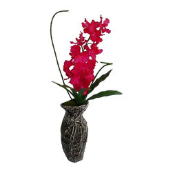 Laura Ashley - Fuschia Silk Orchid in Ceramic Container - Constructed from Plastic, polyester, foam, moss, glue, wire, ceramic. Planter-Container Included. The best looking orchid ever made in a contemporary container. No need to shop for a planter separately - comes complete with high end decorative planter. High quality artificial orchid plant offers years of beauty with virtually no maintenance. This stunning orchid adds color and beauty to any room. Elegance is the feeling you get with this orchid plant. 24 in. L x 21 in. W x 37 in. H (7 lbs.)The Laura Ashley brand is known for quality and distinctive design, the mark of timeless beauty and relaxed living - and this lifelike silk plant fulfills those expectations. This luxurious fuchsia orchid will instantly liven up your home or office  - with no maintenance and yet a realist look. Remember there is no need to shop for a vase separately - this high fashion, edgy vase pictured is included. Plants add a feeling of life to a room, making it warmer and more welcoming; artificial plants let you decorate without concern for water damage, trimming, or soil. This high quality orchid arrangement is brought to you by Vintage Home - setting the standard in permanent botanicals, Vintage Home products feature real touch technology to bring you a richer and more realistic plant.