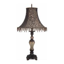 Cal Lighting - Cal Lighting BO-885 Table 150 W 3 Way Resin/Glass  Table Lamp - 150W 3 Way Resin/Glass Table Lamp
