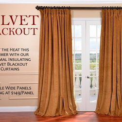 """Signature Double Wide Velvet Blackout Curtains - Soft plush pile """"Velvet Curtains"""" have a natural luster with a depth of color that creates a formal, polished look. Made of high-quality, poly velvet and soft flowing polyester blackout thermal lining. The curtains keep the light out and provides for optimal insulation."""