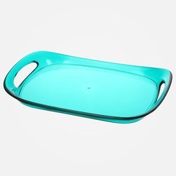 Bandeau Acrylic Tray - I love the nearly neon color of this acrylic tray. I love finding things that could be used for both entertaining and decorating. Hello grilled pineapple in the summer and frosty miniature snow land in the winter!