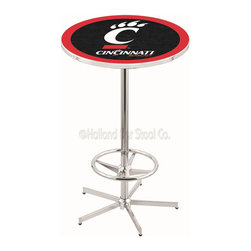 Holland Bar Stool - Holland Bar Stool L216 - 42 Inch Chrome Cincinnati Pub Table - L216 - 42 Inch Chrome Cincinnati Pub Table  belongs to College Collection by Holland Bar Stool Made for the ultimate sports fan, impress your buddies with this knockout from Holland Bar Stool. This L216 Cincinnati table with retro inspried base provides a quality piece to for your Man Cave. You can't find a higher quality logo table on the market. The plating grade steel used to build the frame ensures it will withstand the abuse of the rowdiest of friends for years to come. The structure is triple chrome plated to ensure a rich, sleek, long lasting finish. If you're finishing your bar or game room, do it right with a table from Holland Bar Stool.  Pub Table (1)