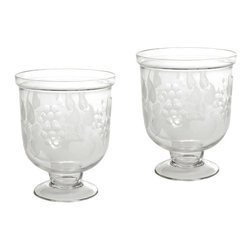 Go Home - Small Antique Leaf Etched Hurricanes- Set Of 4 - The delicate beauty of leaves come to light in the etched details of this gorgeous pair of hurricanes. Whether set in a Federal style townhouse or forest retreat, this pair combine natural beauty and classic lines to perfection.