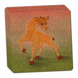 """Made on Terra - Giraffe Wearing Skates Thin Cork Coaster Set of 4 - You're just cleaning up after your epic party when you realize it... something's different. Unlike all those other times, you're not mopping up cup condensation from your counters and tables. This time, everyone used a coaster. Everyone. Maybe it's because you handed out a coaster with every glass. No. You've tried that before. No, this time it's because of the actual coasters. You found the cutest Made On Terra printed cork coasters. You love that everyone commented on how unique they were,  from the light-weight, thin cork material to the printing that creates a cool and subtle effect. Plus, they're really absorbent, but dry quickly. And they're made from an eco-friendly, sustainable resource, so that makes you feel pretty great, too. Choose from Made on Terra's many fabulous cork coasters. Measures 4"""" x 4"""" x 1/8"""". Made of thin cork. Super cute and nicely absorbent. Sold in sets of four."""