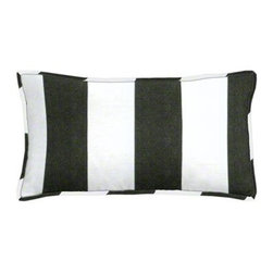 "Cushion Source - Bistro Checkerboard Striped Outdoor Lumbar Pillow - The 20"" x 12"" Bistro Checkerboard Striped Outdoor Lumbar Pillow features a classic and bold black and white alternating stripe pattern."