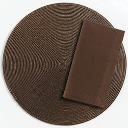 "Origin Crafts - Chocolate round woven placemats set of 4 - Chocolate Round Woven Placemats Set of 4 Napkins & Placemats sold separately. Sets of four. Durable. Virtually stain resistant. Woven w/polypropylene plastic and cotton thread. Wipe clean w/damp cloth. Dimensions: Placemats - 15"" dia. Napkins - 20"" x 20"" By Tag Ltd. - Tag Ltd. is a supplier of"
