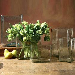 """Hamilton Vase Rectangular - 6"""" x 2.5"""" - Clear glass ripples in the weighty, transparent walls of the Hamilton Vase. A transitional accent which is large but not overpowering, this classy piece is perfect for displaying fillers like natural stones or collected seed pods, and the floral arrangements apropos for every season look at home when leaning against the vase's ample mouth and confined by its straight sides."""