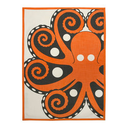 Octopus Tea Towel - This 100% cotton tea towel features finished edges and a hand screened octopus design in mandarin. The over-sized proportion is great for a variety of kitchen uses, including incorporating them into table-scape designs or using them as colorful place mats.