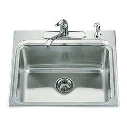 "KOHLER - KOHLER K-3206-4-NA Ballad Self-Rimming Utility Sink - KOHLER K-3206-4-NA Ballad Self-Rimming Utility Sink with Four-Hole Faucet Punching and 10"" Deep Basin"