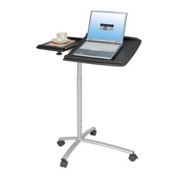 RTA Products - Techni Mobili Rolling Laptop Stand - Espresso - The Techni Mobili Rolling Laptop Stand is made of heavy-duty engineered wood panels with a moisture resistant PVC laminate veneer and a scratch-resistant powder-coated steel frame. The dual pivoting table panels each feature safety edge stops to prevent objects from sliding off when the panels are tilted. You can easily adjust the height between 31 and 45.5 inches with a 7-pin spring system. The extended 4th leg provides increased stability along with large double-wheel non-marking casters with locking mechanisms. Each table panel has a 15 lb weight capacity.
