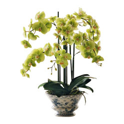 Winward - Phalaenopsis Orchid In Ceramic Container 25'' - You'll never have to worry about killing another orchid again when you invest in a high-end permanent version. Find a special place for this beautifully potted Phalaenopsis and enjoy its abundant blossoms for years to come. No green thumb required!