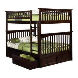 Atlantic Furniture - Columbia Full Over Full Bunk Bed w Flat Panel - NOTE: ivgStores DOES NOT offer assembly on loft beds or bunk beds. Includes full upper and lower panels, rails, ladder clip-on, slat kits and flat panel drawers. Mattress not included. Solid hardwood Mortise & Tenon construction. 26-Steel reinforcement points. Made of premium, eco-friendly hardwood with a 5-step finishing process. Designed for durability. Guard rails match panel design. Meet or exceed all ASTM bunk bed standards, which require the upper bunk to support 400 lbs.. Pictured in Antique Walnut finish. 1-Year manufacturer's warranty. Clearance from floor without trundle or storage drawers: 11.25 in.. 80.5 in. L x 58.38 in. W x 68.13 in. H. Flat panel drawers: 74 in. L x 22 in. W x 12 in. H. Bunk Bed Warning. Please read before purchaseThe Columbia bunk bed features a classic Mission style design with subtle curves and solid post construction.