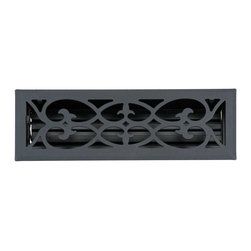 Renovators Supply - Heat Registers Black RSF Stamped Steel Heat Register - Heat Register. Control & SAVE on energy bills with registers that let you control every room��_��__��_s airflow with their infinitely adjustable louver assembly (damper box). Crafted of solid steel these registers are stamped from 9 guage steel. Mounts to floors or ceilings, damper box cannot be locked in place. The protective RSF baked-on powder coating provides a luxurious matte finish, their traditional scroll design & heavy steel are of superior quality workmanship. Mounting hardware included. Overall 5 1/4 x 15 1/8.