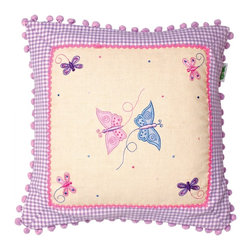 Wingreen - Appliqued Cushion Cover - Butterfly - Our Butterfly Cushion Cover is appliqued and embroidered with pretty butterflies and dragonflies.  Finished with a light dusting of multi-colored dots and a lilac pom-pom trim.