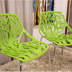 Baxton Studio Birch Sapling Plastic Modern Dining Chair, Green, Set