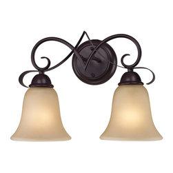 Elk Cornerstone - Two Light Oil Rubbed Bronze Light Amber Glass Vanity - Two Light Oil Rubbed Bronze Light Amber Glass Vanity