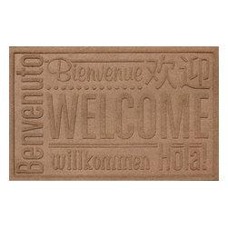 Bungalow Flooring - Aqua Shield 2'x3' Worldwide Welcome Doormat, Medium Brown - Premium 24-oz. anti-static polypropylene mat traps dirt, water and mud.