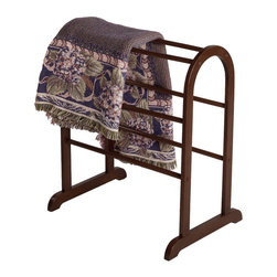Winsomewood - Quilt Rack - With six rungs, this charming quilt rack has room to neatly display all of the quilts and blankets currently cluttering your living room. Free standing, the convenient and discrete organizer can be positioned anywhere in the room.