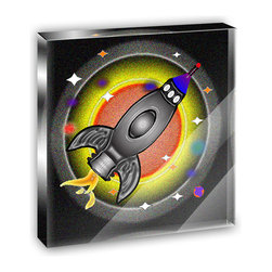 "Made on Terra - Space Ship Cartoon Planets Solar Mini Desk Plaque and Paperweight - You glance over at your miniature acrylic plaque and your spirits are instantly lifted. It's just too cute! From it's petite size to the unique design, it's the perfect punctuation for your shelf or desk, depending on where you want to place it at that moment. At this moment, it's standing up on its own, but you know it also looks great flat on a desk as a paper weight. Choose from Made on Terra's many wonderful acrylic decorations. Measures approximately 4"" width x 4"" in length x 1/2"" in depth. Made of acrylic. Artwork is printed on the back for a cool effect. Self-standing."