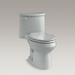 KOHLER - KOHLER Adair(R) one-piece elongated 1.28 gpf toilet with AquaPiston(R) flush tec - An excellent value, the Adair toilet features a striking organic design inspired by the windswept rock formations of Sedona, Arizona. A slim tank and pared-down oval forms make this compact, high-efficiency toilet perfect for smaller spaces. A 1.28-gallon