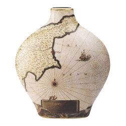 "Porcelain Nautical Map Vase - The nautical map vase measures 12"" x 13.5"". It is made of porcelain. It will add a definite nautical touch to whatever room it is placed in and is a must have for those who appreciate high quality nautical decor. It makes a great gift, impressive decoration and will be admired by all those who love the sea."