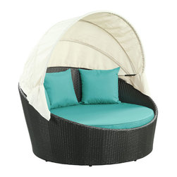 Modway Furniture - Modway Siesta Canopy Daybed in Espresso Turquoise - Canopy Daybed in Espresso Turquoise belongs to Siesta Collection by Modway Awaken from your daytime repast while comfortably ensconced in this boundless elliptical daybed. Return to newly focused strength and vigor with an affluent all-weather white cushion and retractable sun guard. Siesta's modern form shows that, independent of everything, your space in the world is determined by your ability to make the most out of revitalized pursuits. Set Includes: One - Siesta Outdoor Wicker Patio Canopy Bed Three - Siesta Outdoor Wicker Patio Throw Pillows Daybed (1)
