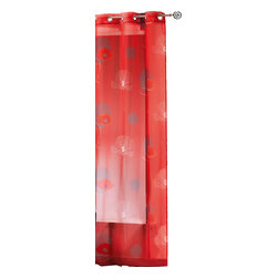 "Evideco - Printed Sheer Grommet Curtain Panels Poppy, Red and White - ""This lovely printed sheer window curtain panel POPPY features red and white poppies on red background, is sold individually and measures 55""""W x 95''L. This printed voile panel, made of 100% polyester, easily hangs with grommets, in addition to existing cu"""