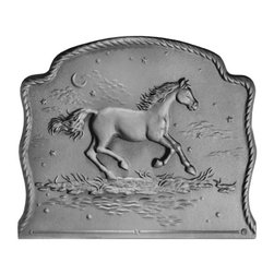 "Pennsylvania Firebacks - 21.5"" x 18"" Night Horse Fireback - This firebacks curvaceous frame and rope moulding lend it a distinctive originality. Under a crescent moon, a cantering horse is pictured by a water hole as it eclipses the stars of the constellation Pegasus."