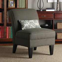 PORTFOLIO - Portfolio Ada Brown Smoky Moss Linen Armless Chair - Bring additional seating into your home with this elegant armless chair that will add a wonderful accent to your decor. No sag springs and a box-seat cushion with thick foam ensure your comfort when seated on this lovely brown smoky moss chair.
