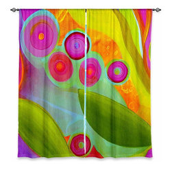 "DiaNoche Designs - Window Curtains Unlined - China Carnella Jacaranda - Purchasing window curtains just got easier and better! Create a designer look to any of your living spaces with our decorative and unique ""Unlined Window Curtains."" Perfect for the living room, dining room or bedroom, these artistic curtains are an easy and inexpensive way to add color and style when decorating your home.  This is a tight woven poly material that filters outside light and creates a privacy barrier.  Each package includes two easy-to-hang, 3 inch diameter pole-pocket curtain panels.  The width listed is the total measurement of the two panels.  Curtain rod sold separately. Easy care, machine wash cold, tumbles dry low, iron low if needed.  Made in USA and Imported."