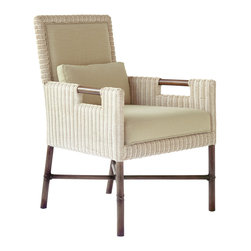 McGuire Furniture - Thomas Pheasant Woven Core Dining Arm Chair: WS-404 - The Thomas Pheasant Woven Core Dining Arm Chair's sleek woven design is hand-crafted of woven rattan core. This dining chair and matching side chair and are also offered in a woven leather version in addition to the woven core (shown). The arm chair has an upholstered back and fitted kidney pillow to maximize comfort. The chair is upholstered in a new Horesehair Linen Weave fabric from McGuire's exclusive Headlands Collection textile line.
