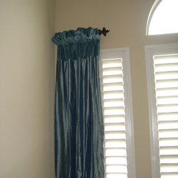 window treatments - Dupioni Silk Panels with velvet header