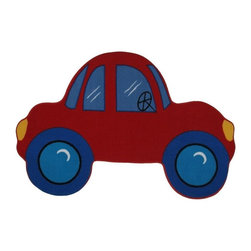Fun Rugs - Car Kids Rug in Red - Your child's room is a natural extension of them. Add these innovative designs from LA Rug to spruce up any child's decor.