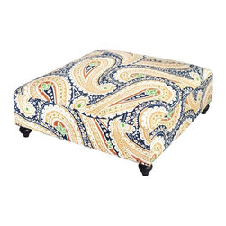 Blue Oversize Paisley Ottoman - This is the kind of ottoman that just makes your feet happy.