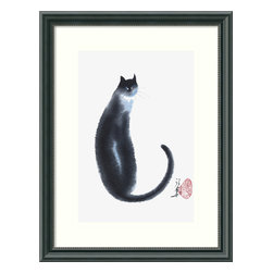 Amanti Art - 'Chinese Cat II' Framed Print by Cheng Yan - Are cats in China simply longer and skinnier? Based on this art, yes! But you can appreciate and recognize that art is often an exaggerated interpretation of real life, which is what makes these prints both haunting and beautiful. Also available with a companion print.