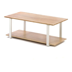 Gifts Galore - Contemporary Cottage Coffee Table - This coffee table is a modern take on simple design!  Two tiers of light wood sit upon a white framework to make an intriquing piece of functional furniture.