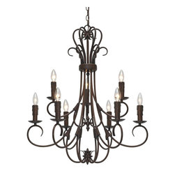 Golden Lighting - Homestead RBZ 9-Light Candelabra Chandelier - Bulbs not included. Required nine 60 watt incandescent type B candelabra base bulbs. Traditional style. Matching drip candlesticks. Nine E12 sockets. Electric wire gage: SPT-1 18# 105 degree. UL approved for dry locations. Made from metal. Rubbed bronze color. Chain length: 72 in.. Wire length: 120 in.. Canopy: 5 in. Dia.. Canopy extension: 1 in.. Overall: 28 in. W x 32.5 in. H (12.9 lbs.). Warranty. Assembly InstructionsBlends with any eclectic or casual room decor. A chandelier creates a stylish focal point. Graciously sized for taller dining and living areas.