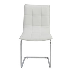 Euro Style - Euro Style Chad White Dining Side Chair (Set of 2) - Equally at home around a dining table or a conference table the Chad Side Chair is a winner. Leatherette over foam is upholstered with a grid of shallow seams for added flexibility and comfort. Youll be glad you invited Chad to your event. Euro Style is more than a brand name – it is a complete design approach.  The ever-growing furniture collections for living room bar dining room and office bring cutting-edge contemporary style from Euro Style's designers in Europe and factories in Italy and Asia. Euro Style has continued to grow focusing on the latest in contemporary design. Today Euro Style occupies 30000 square feet of permanent showroom space in both the High Point North Carolina and Las Vegas Nevada markets and also shows during the four major Hospitality/Contract Markets in the US. Euro Style manufacturers and distributes RTA modern furniture with factories in Italy and East Asia. Euro Style occupies a warehouse in Union City California of more than seventy thousand square feet and ships next day after order confirmation. Features include Leatherette over foam seat and back in quilted pattern Chromed steel base Set of 2 Soft easy-to-clean leatherette Durable steel frame Available in 2 colors Stylish cantilever design.